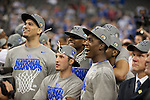 02 APR 2012:  The University of Kentucky basketball team celebrates during the 2012 NCAA Men's Division I Basketball Championship Final Four held at the Mercedes-Benz Superdome hosted by Tulane University in New Orleans, LA.  The University of Kentucky beat the University of Kansas 67-59. Joshua Duplechian/ NCAA Photos