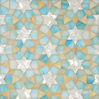 Medina, jewel glass mosaic shown in Aquamarine, Shell, Agate, is part of the Miraflores Collection by Paul Schatz for New Ravenna Mosaics.