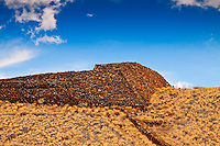 The massive stone structure known as Pu'ukohola Heiau, or the temple on the whale hill, is the largest and last heiau constructed in 1790-91 by Kamehameha I; Pu'ukohola Heiau National Historic Site, Kawaihae, Kohala, Big Island.