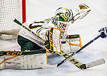 10 February 2017: University of Vermont Catamount Goaltender Stefanos Lekkas, a Freshman from Elburn, IL, makes a penalty-shot save in the third period against the University of New Hampshire Wildcats at Gutterson Fieldhouse in Burlington, Vermont. The Catamounts fell to the Wildcats 4-2 in the first game of their 2-game Hockey East Series. Mandatory Credit: Ed Wolfstein Photo *** RAW (NEF) Image File Available ***