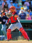 5 March 2009: Washington Nationals' catcher Gustavo Molina in action during a Spring Training game against the Detroit Tigers at Joker Marchant Stadium in Lakeland, Florida. The Tigers defeated the visiting Nationals 10-2 in the Grapefruit League matchup. Mandatory Photo Credit: Ed Wolfstein Photo
