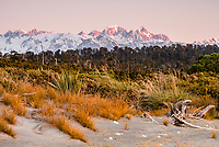 Views of Mt. Tasman 3497m and Mt. Cook 3754m from Three Mile Lagoon Beach during sunset, Westland Tai Poutini National Park, UNESCO World Heritage, West Coast, New Zealand, NZ