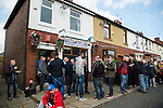 Rochdale 2 Bury 0, 15/10/2016. Spotland Stadium, League One. The Willbutts Lane Fish and Chip shop doing a rouring trade before kick off. <br />