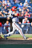 Hagerstown Suns catcher Matt Reistetter (17) swings at a pitch during a game against the  Asheville Tourists at McCormick Field on May 13, 2017 in Asheville, North Carolina. The Suns defeated the Tourists 9-5. (Tony Farlow/Four Seam Images)
