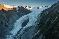 Franz Josef Glacier and Main Divide at sunset, Westland Tai Poutini National Park, West Coast, World Heritage Area, New Zealand