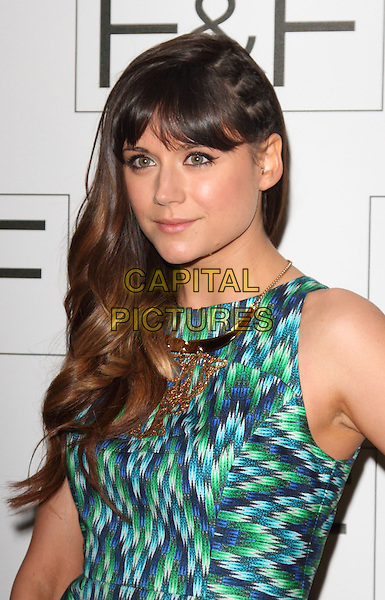 Lilah Parsons.F&F autumn/winter 2013 collection showcase at Somerset House, London, May 16th 2013..portrait headshot  green blue white print fringe  gold necklace .CAP/ROS.©Steve Ross/Capital Pictures.