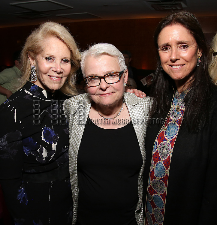 Daryl Roth, Paula Vogel and Julie Taymor attends the Broadway Opening Night After Party for  'Indecent' at Bryant Park Grill on April 18, 2017 in New York City.
