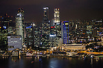 View of Singapore waterfront skyline from top of Marina Bay Sands hotel
