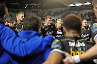 Stuart Hooper of Bath Rugby speaks to his team after the match. European Rugby Champions Cup match, between RC Toulon and Bath Rugby on January 10, 2016 at the Stade Mayol in Toulon, France. Photo by: Patrick Khachfe / Onside Images