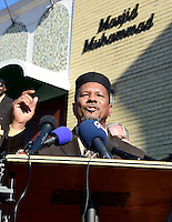 Imam Talib Shareef,  (pictured) President and Imam of Masjid Muhammad, speaks at a press conference calling on President-elect Donald Trump to respect religious liberty. In the aftermath of the election and in response to the rising hate crimes against Muslims, national Christian and Jewish leaders joined their Muslim colleagues at Masjid Muhammad in Washington, D.C. on Friday, November 18, 2016 for the daily Muslim prayer service.<br /> Credit: Ron Sachs / CNP /MediaPunch