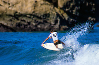 Two Times World Surfing Champion Tom Curren (USA) competing in the 1990 Arena Surf Masters at the Grand Plage, Biarritz, France.  : Photo: Joliphotos.com