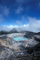 The steaming crater of avtive Poas Volcano, Parque Nacional Volcan Poas, Costa Rica