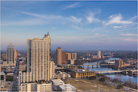 From the roof of the Springs Condominiums, this image of the Austin Skyline looks east at the Frost Tower, the 360 Condos, Lake Bird Lake (Town Lake) and the Hyatt Austin.