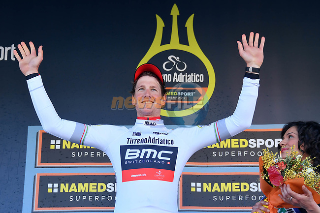Stephen Kung (AUT) wears the young riders Maglia Bianca BMC Racing Team on the podium after winning the 1st stage of the race of the two seas, 52nd Tirreno-Adriatico by NamedSport a 22.7km Team Time Trial around Lido di Camaiore, Italy. 8th March 2017.<br /> Picture: La Presse/Gian Mattia D'Alberto | Cyclefile<br /> <br /> <br /> All photos usage must carry mandatory copyright credit (&copy; Cyclefile | La Presse)