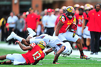 Terrapins DJ Moore looks for some running room. Maryland routed Howard 51-13 during home season opener at Capital One Field in College Park, MD on Saturday, September 3, 2016.  Alan P. Santos/DC Sports Box