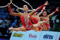 (Foreground) Romina Laurito and senior rhythmic group from Italy perform at 2010 World Cup at Portimao, Portugal on March 11, 2010.  (Photo by Tom Theobald).