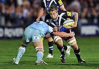 Dominic Day charges into Rhys Oakley. Aviva Premiership match, between Bath Rugby and Northampton Saints on September 14, 2012 at the Recreation Ground in Bath, England. Photo by: Patrick Khachfe / Onside Images