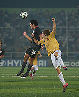 Victor Chavez heads the ball. Spain defeated the U.S. Under-17 Men National Team  2-1 at Sani Abacha Stadium in Kano, Nigeria on October 26, 2009.
