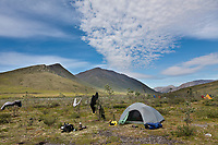 Back country camp after 3 days of rain, Marsh Fork of the Canning river in the Arctic National Wildlife Refuge, Brooks range mountains, Alaska.