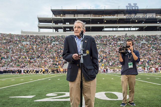 Sept. 26, 2015; Sgt. Tim McCarthy reads his final public safety message during the game against the University of Massachusetts at Notre Dame Stadium. (Photo by Barbara Johnston/University of Notre Dame)