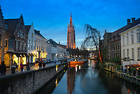 Dijver River With Church of Our Lady At Night, Brugge