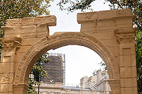 """Detail of the 25 foot tall facsimile of the Triumphal Arch of Palmyra on view in New York's City Hall Park is seen on Wednesday, September 21, 2016. The original, which stood for 2000 years in Palmyra, Syria, was destroyed by Isis in 2015. This reproduction, created by the Institute of Digital Archeology and UNESCO is made of Egyptian marble and is meant to encourage the public about the destruction of historic sites which are being destroyed in the name of """"cultural cleansing"""". The IDA used high resolution images taken by both archeologists and tourists in the reconstruction. (© Richard B. Levine)"""
