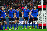France players stand dejected under their posts after conceding a try. RBS Six Nations match between France and England on March 19, 2016 at the Stade de France in Paris, France. Photo by: Patrick Khachfe / Onside Images