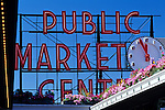 Pike Place Market sign and clock on a bright, beautiful sunny day downtown Seattle, Washington State USA