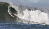 Peter Mel rides a wave, 2010 Mavericks Surf Contest, Saturday, Feb. 13, 2010, Half Moon Bay, California.