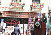 NEW YORK, NY - JUNE 27:  Member of the National Parks Service speaking at the Stonewall Inn National Monument designation ceremony the first LGBTQ institution to receive national monument status in New York, New York on June 27, 2016.  Photo Credit: Rainmaker Photo/MediaPunch