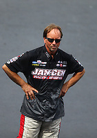 Jun 19, 2015; Bristol, TN, USA; NHRA pro mod driver Mike Janis during qualifying for the Thunder Valley Nationals at Bristol Dragway. Mandatory Credit: Mark J. Rebilas-