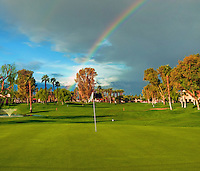 Golf Course, Fairway, Green, Flagstick, Rainbow. Beautiful, clouds, sky, background, skies, nature, weather, dramatic