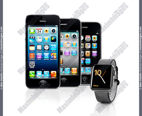 Previous generations of iPhones and Apple Watch smartwatch isolated on white background