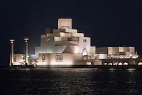 Doha, Qatar.  Museum of Islamic Art,  designed by architect I.M. Pei.  Night Shot.