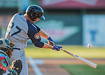 29 July 2016: Brooklyn Cyclones infielder Peter Alonso in action against the Vermont Lake Monsters at Centennial Field in Burlington, Vermont. The Lake Monsters fell to the Cyclones 8-5 in NY Penn League action. Mandatory Credit: Ed Wolfstein Photo *** RAW (NEF) Image File Available ***