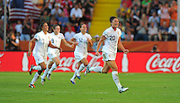 Abby Wambach (r) of team USA celebrates during the FIFA Women's World Cup at the FIFA Stadium in Dresden, Germany on June 28th, 2011.