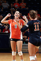 SAN ANTONIO, TX - SEPTEMBER 1, 2012: The University of Texas at El Paso Miners versus the University of Texas at San Antonio Roadrunners Women's Volleyball at the UTSA Convocation Center. (Photo by Jeff Huehn)