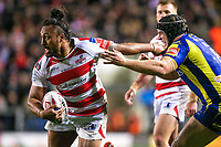 Picture by Alex Whitehead/SWpix.com - 16/03/2017 - Rugby League - Betfred Super League - Leigh Centurions v Warrington Wolves - Leigh Sports Village, Leigh, England - Leigh's Atelea Vea is tackled by Warrington's Chris Hill.