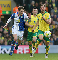 Blackburn Rovers' Connor Mahoney battles with Norwich City's Steven Whittaker<br /> <br /> Photographer David Shipman/CameraSport<br /> <br /> The EFL Sky Bet Championship - Norwich City v Blackburn Rovers - Saturday 11th March 2017 - Carrow Road - Norwich<br /> <br /> World Copyright &copy; 2017 CameraSport. All rights reserved. 43 Linden Ave. Countesthorpe. Leicester. England. LE8 5PG - Tel: +44 (0) 116 277 4147 - admin@camerasport.com - www.camerasport.com