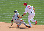 7 August 2016: Washington Nationals infielder Trea Turner tags out Eduardo Nunez on a double-play against the San Francisco Giants at Nationals Park in Washington, DC. The Nationals shut out the Giants 1-0 to take the rubber match of their 3-game series. Mandatory Credit: Ed Wolfstein Photo *** RAW (NEF) Image File Available ***