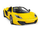 Yellow 2014 McLaren MP4 12C Convertible sports car isolated on white background with clipping path