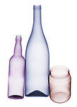 X-ray image of glass bottles and jar (color on white) by Jim Wehtje, specialist in x-ray art and design images.