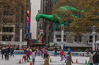 NEW YORK, NY - NOVEMBER 24:  DINO balloon floats at the 90th annual Macy's Thanksgiving Day Parade near to Bryant Park ice rink on November 24, 2016 in New York City.  Photo by VIEWpress/Maite H. Mateo.