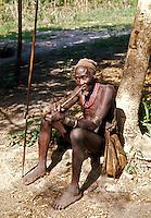 Ngambay man smoking pipe, Chad, Africa