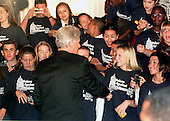 United States President Bill Clinton shakes hands with high school students attending the &quot;Voices Against Violence: A Congressional Teen Conference&quot; in Washington, DC on 19 October, 1999.<br /> Credit: Ron Sachs / CNP