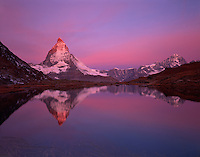 Mission Matterhorn, View from Riffellake to Matterhorn (left) 4478 m, Matterhorn, Switzerland