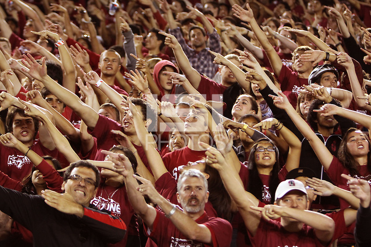 STANFORD, CA - OCTOBER 24:  Fans of the Red Zone of the Stanford Cardinal during Stanford's 33-14 win over ASU on October 24, 2009 at Stanford Stadium in Stanford, California.