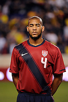 Oguchi Onyewu (4) of the United States. The men's national team of the United States (USA) was defeated by Ecuador (ECU) 1-0 during an international friendly at Red Bull Arena in Harrison, NJ, on October 11, 2011.