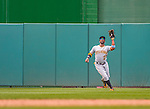 21 June 2015: Pittsburgh Pirates outfielder Andrew McCutchen pulls in a second inning fly ball during play against the Washington Nationals at Nationals Park in Washington, DC. The Nationals defeated the Pirates 9-2 to sweep their 3-game weekend series, and improve their record to 37-33. Mandatory Credit: Ed Wolfstein Photo *** RAW (NEF) Image File Available ***