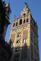 Minaret of the old Almohad main mosque, 12th century; constructed of cut bricks, originally 82 metres high, actually 103 metres high. Transformed into a cathedral during the 16th century, Seville, Andalusia, Spain